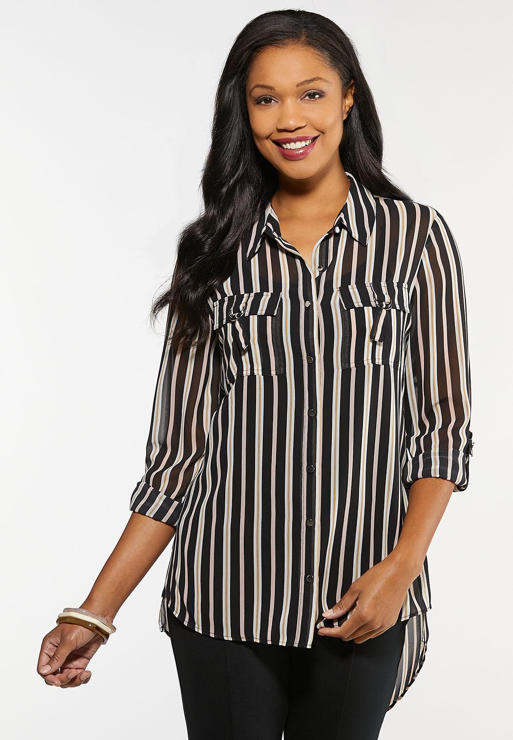 Plus Size Printed High-Low Boyfriend Shirt