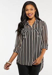 Plus Size Printed High-Low Boyfriend Shirt