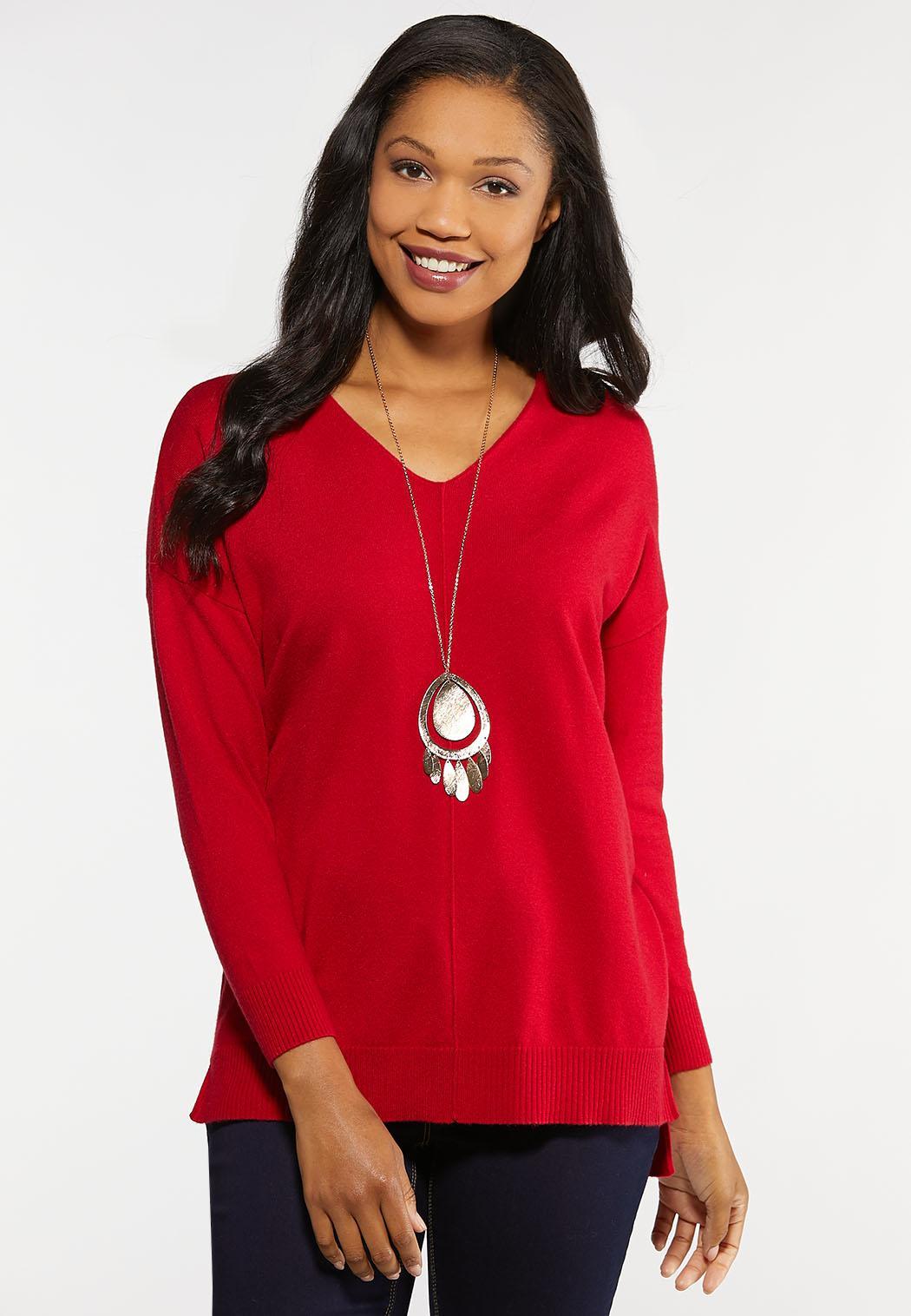 Plus Size Seamed V-Neck Sweater