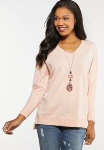 Plus Size Seamed V-Neck Sweater