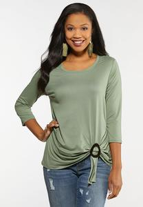 Plus Size Twist Front Buckle Tee