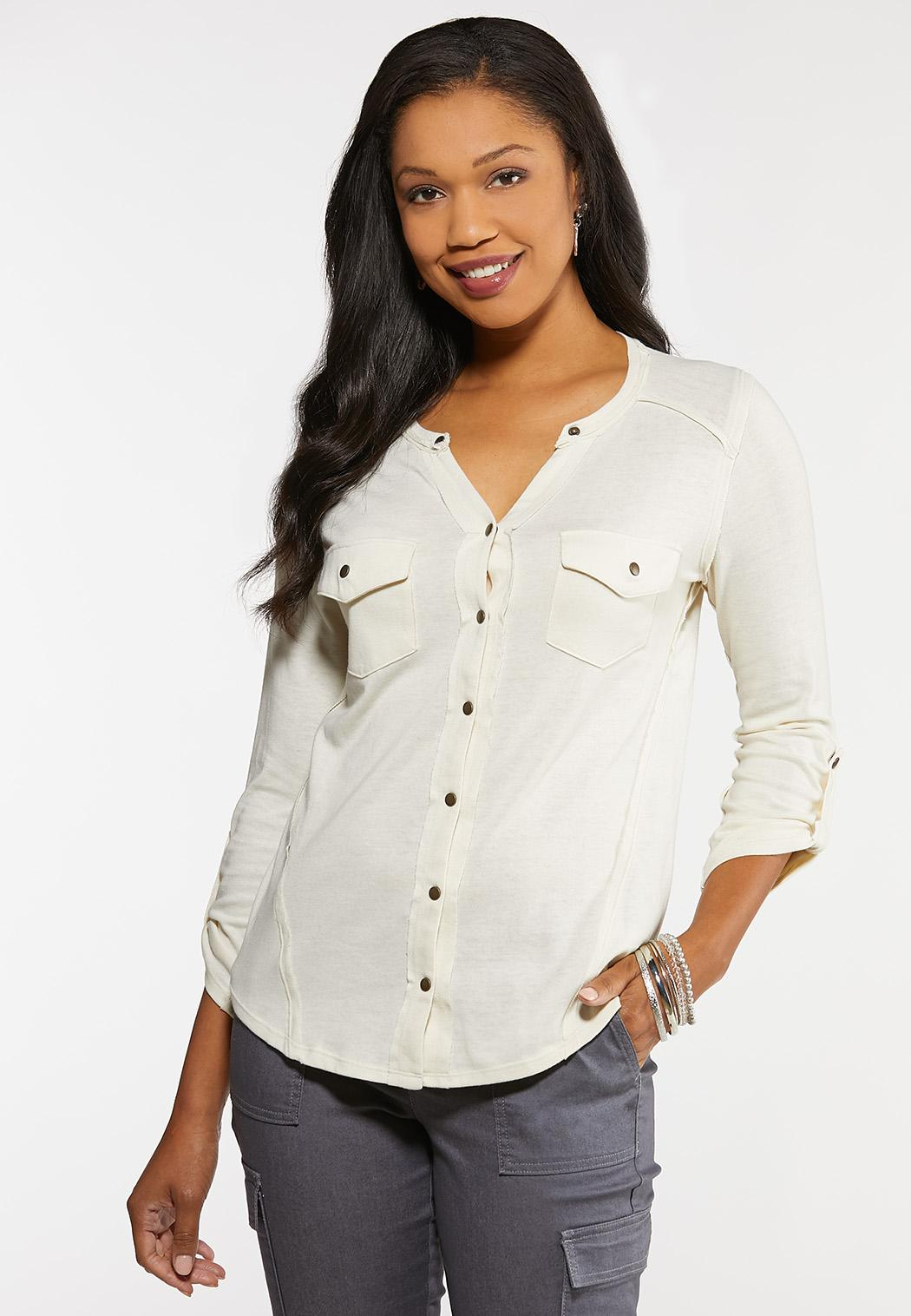Plus Size Solid Button Down Top