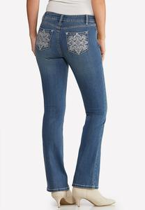Petite Burst of Bling Bootcut Jeans