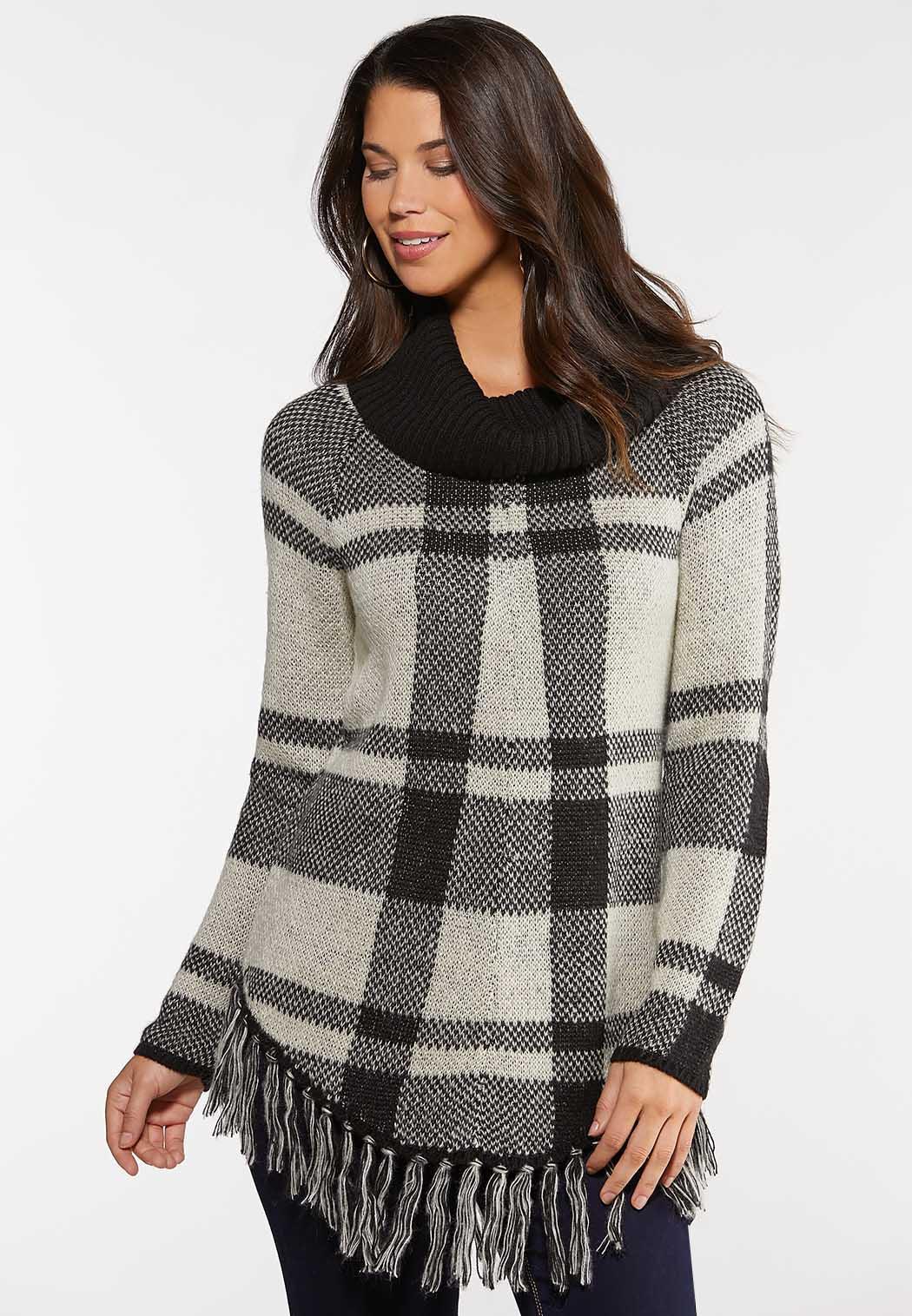 Plus Size Plaid Cowl Neck Sweater