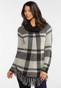 Plus Size Plaid Cowl Neck Sweater