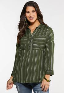 Plus Size Relaxed Stripe Shirt