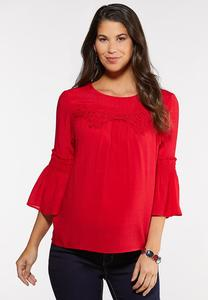 Plus Size Lacy Smocked Poet Top