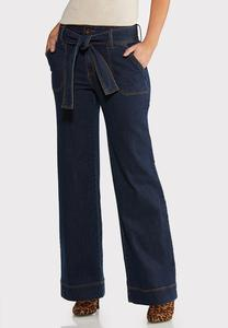 Petite Wide Leg Belted Jeans