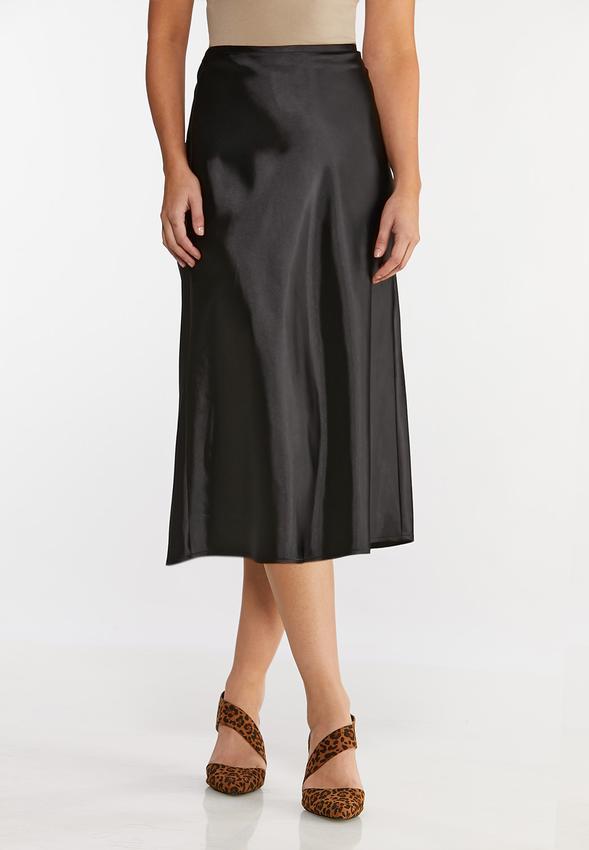 Plus Size Satin Slip Midi Skirt