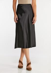 Plus Size Satin Slip Midi Skirt