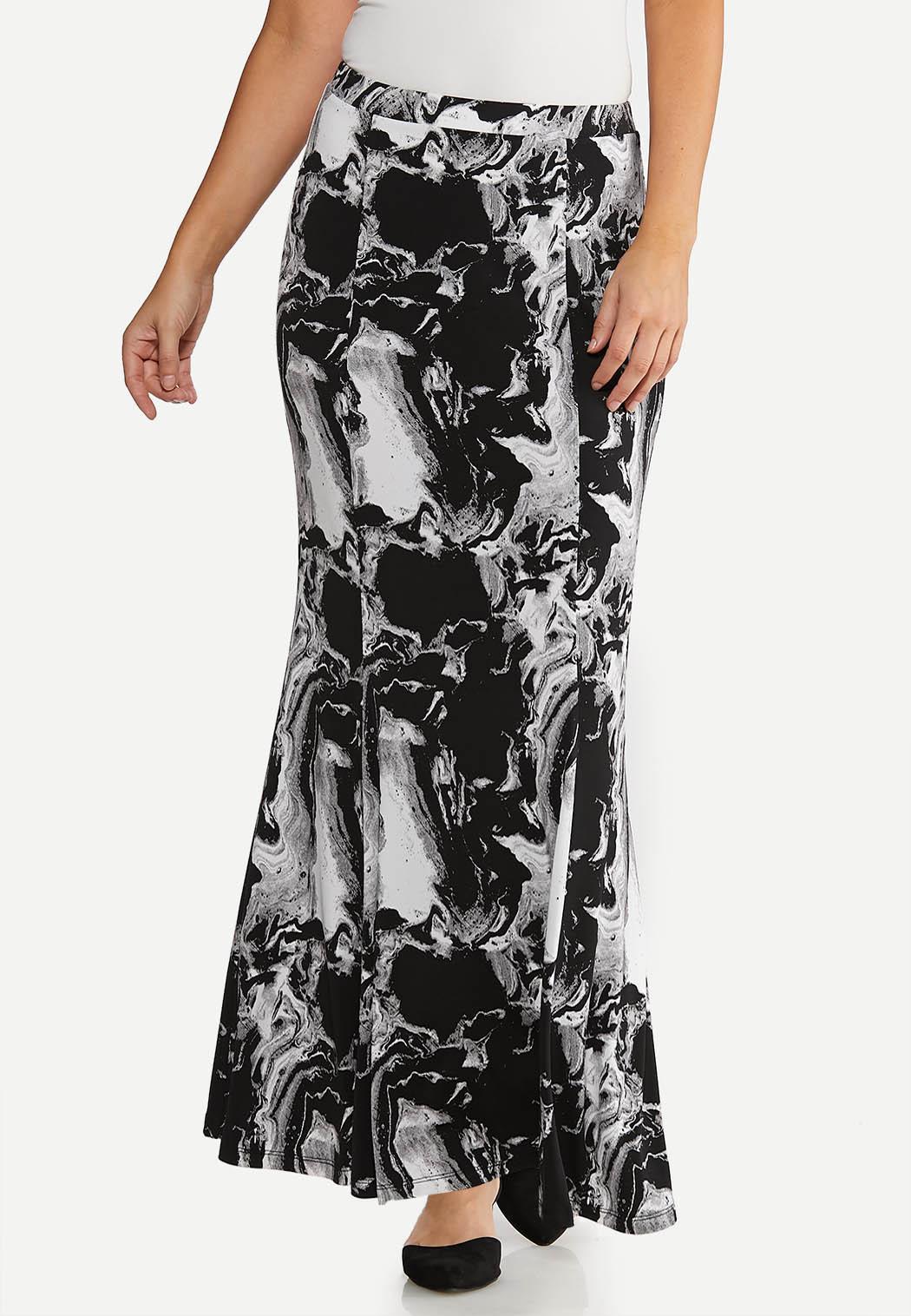 Plus Size Marble Maxi Skirt