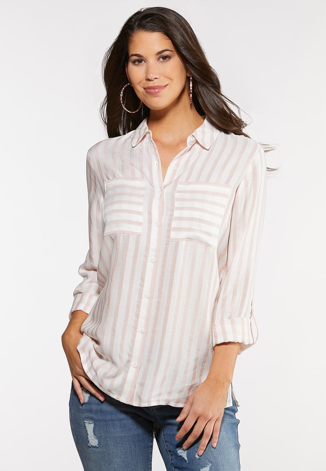 Plus Size Textured Stripe Top