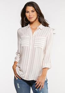 Plus Size Textured Stripe Top