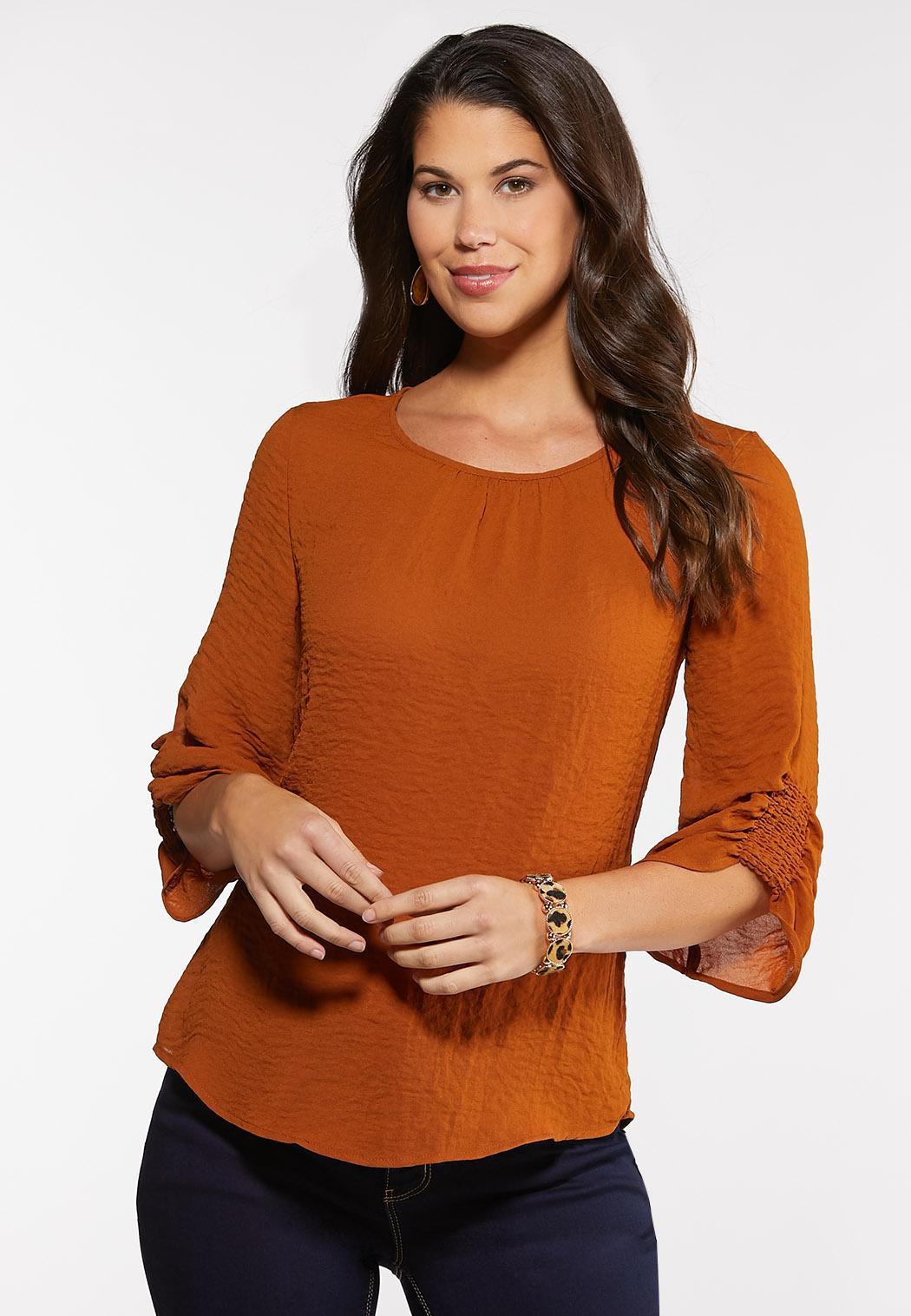 Plus Size Smocked Sleeve Top