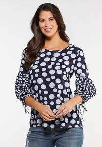 Plus Size Dotted Balloon Sleeve Top