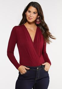 Plus Size Surplice Knit Bodysuit