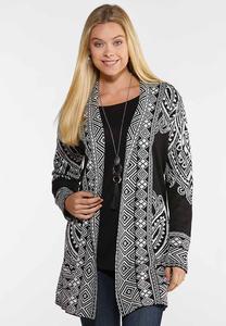 Plus Size Jacquard Cardigan Sweater