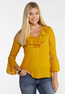 Gold Ruffled Bell Sleeve Top