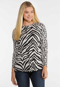Plus Size Spots And Stripes Top