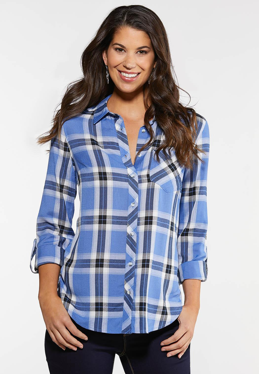 Plus Size Sky Blue Plaid Shirt