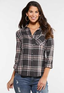 Plus Size Gray Plaid Shirt