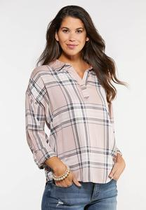 Plus Size Plaid Smocked Sleeve Top