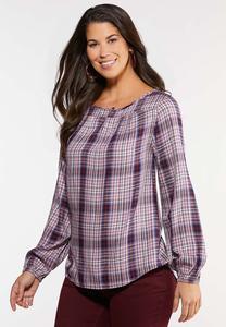 Plus Size Lavender Plaid Poet Shirt