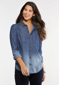 Plus Size Faded Chambray Shirt