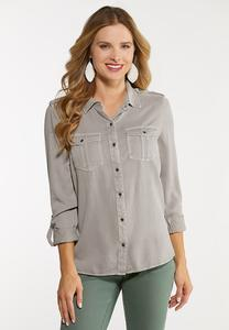 Plus Size Utility Button Down Shirt