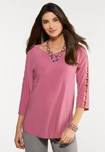 Plus Size Lattice Sleeve Top