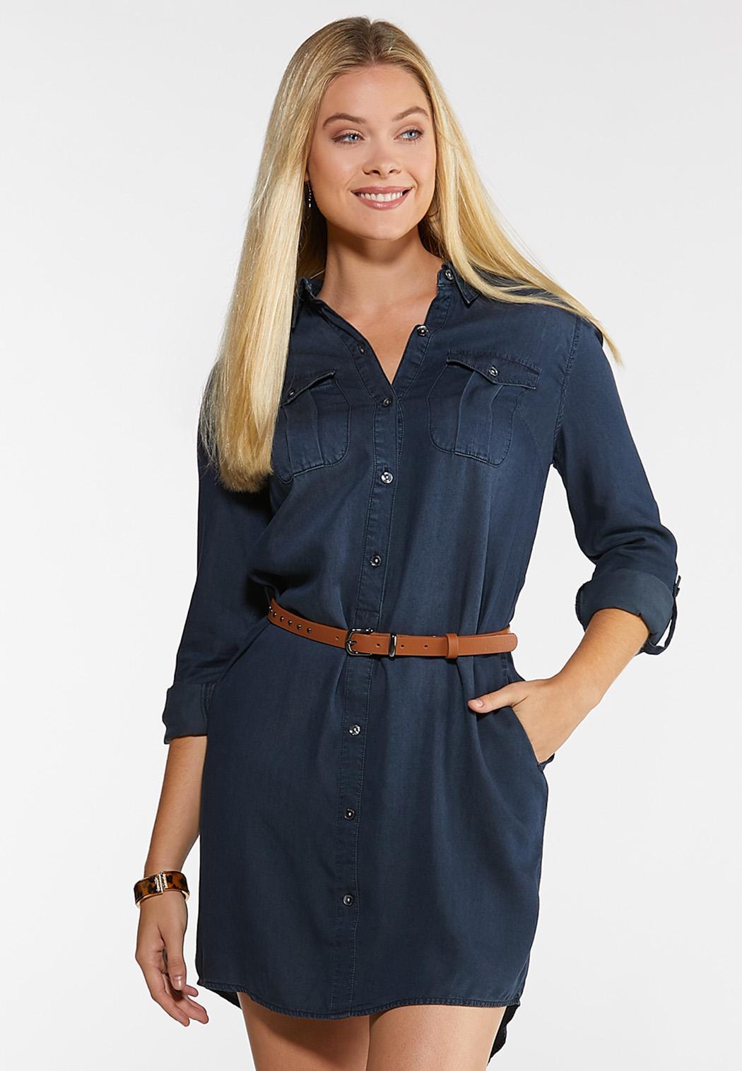 Plus Size Denim Shirt Dress Dresses Cato Fashions