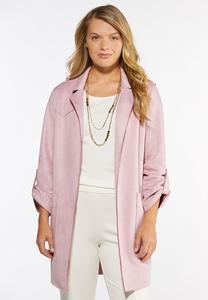 Plus Size Suede Blazer Jacket