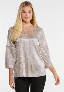 Plus Size Shimmery Gold Top