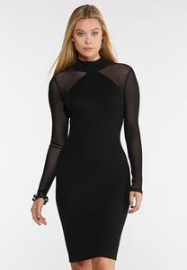 Plus Size Illusion Sleeve Sweater Dress