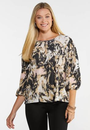 Pleated Blush Floral Top