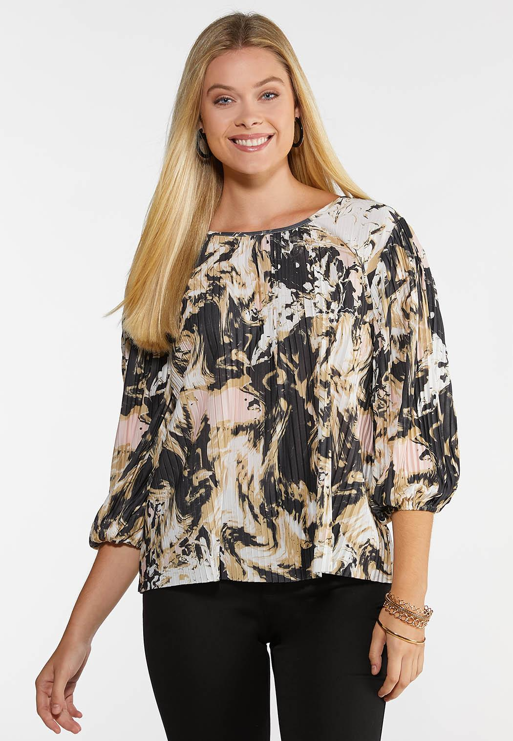 Plus Size Pleated Blush Floral Top