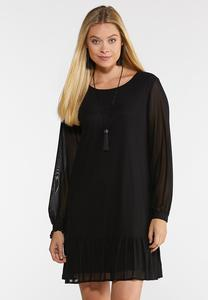 Flounced Hem Shift Dress