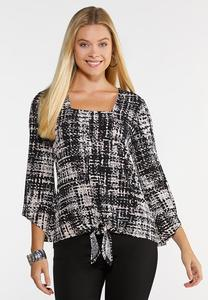 Abstract Tie Front Top