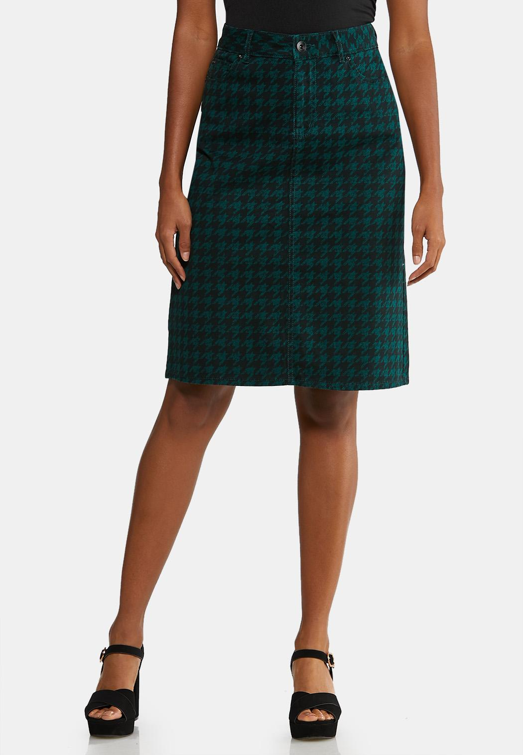 Plus Size Houndstooth Denim Skirt