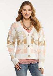 Plaid Button Front Cardigan