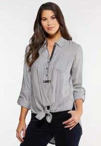 Navy Stripe Tie Waist Shirt