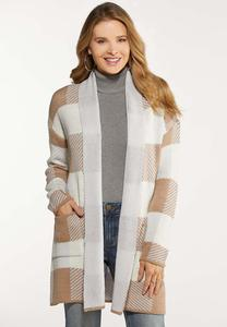 Plus Size Oatmeal Plaid Cardigan
