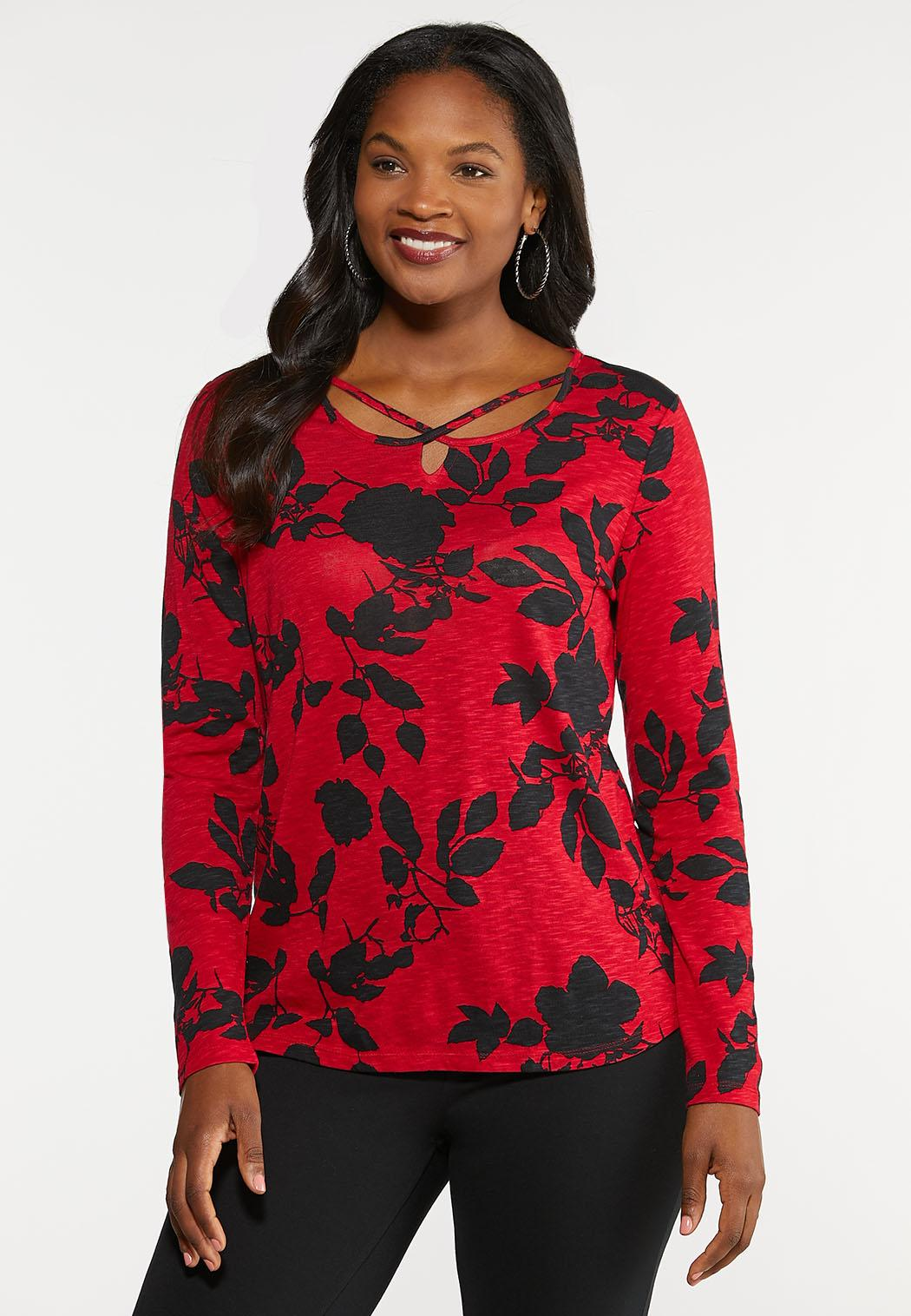 Plus Size Cross Neck Floral Top