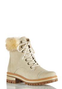 Wide Width Faux Fur Cuff Hiker Boots
