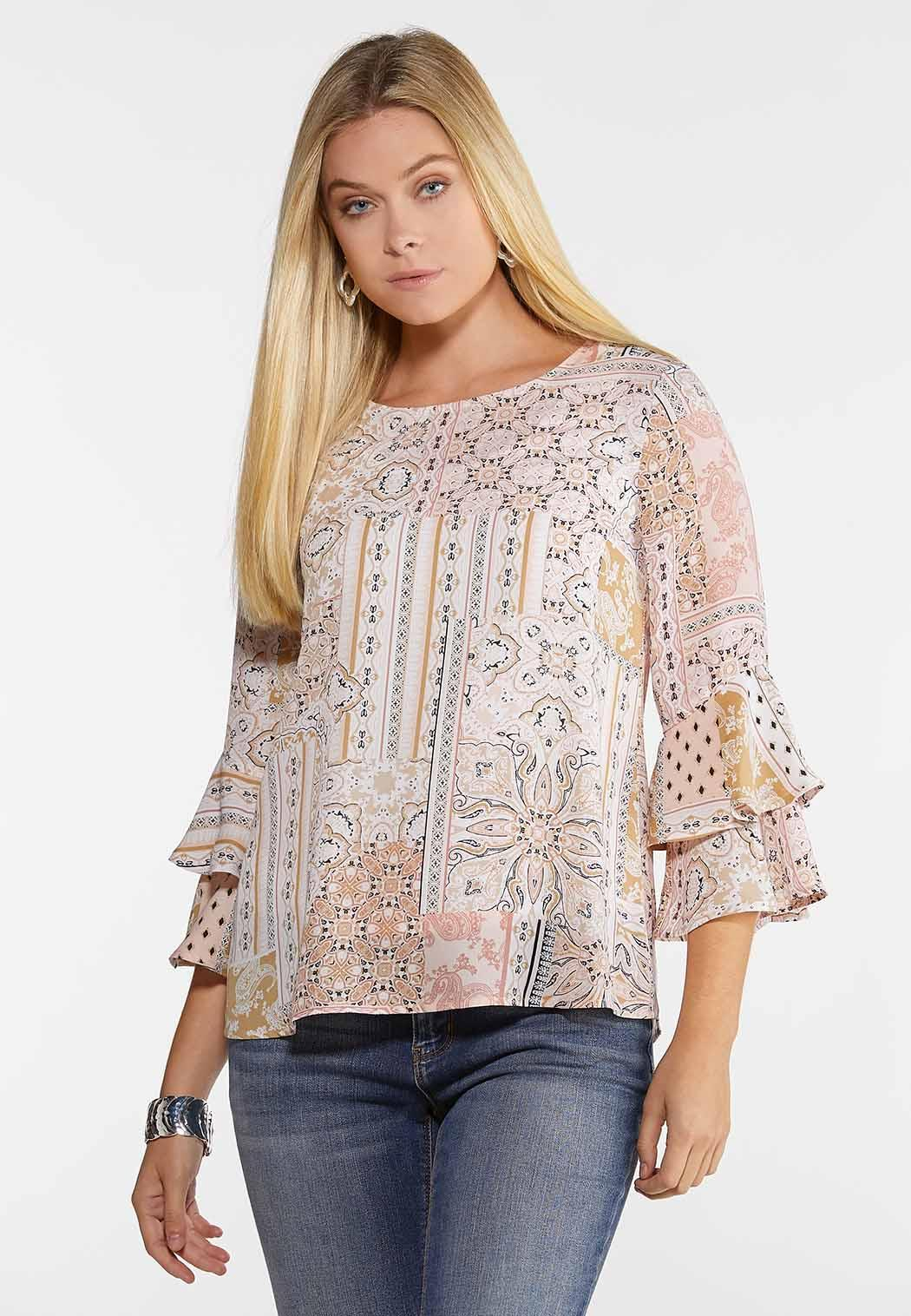Plus Size Blush Tiered Sleeve Top