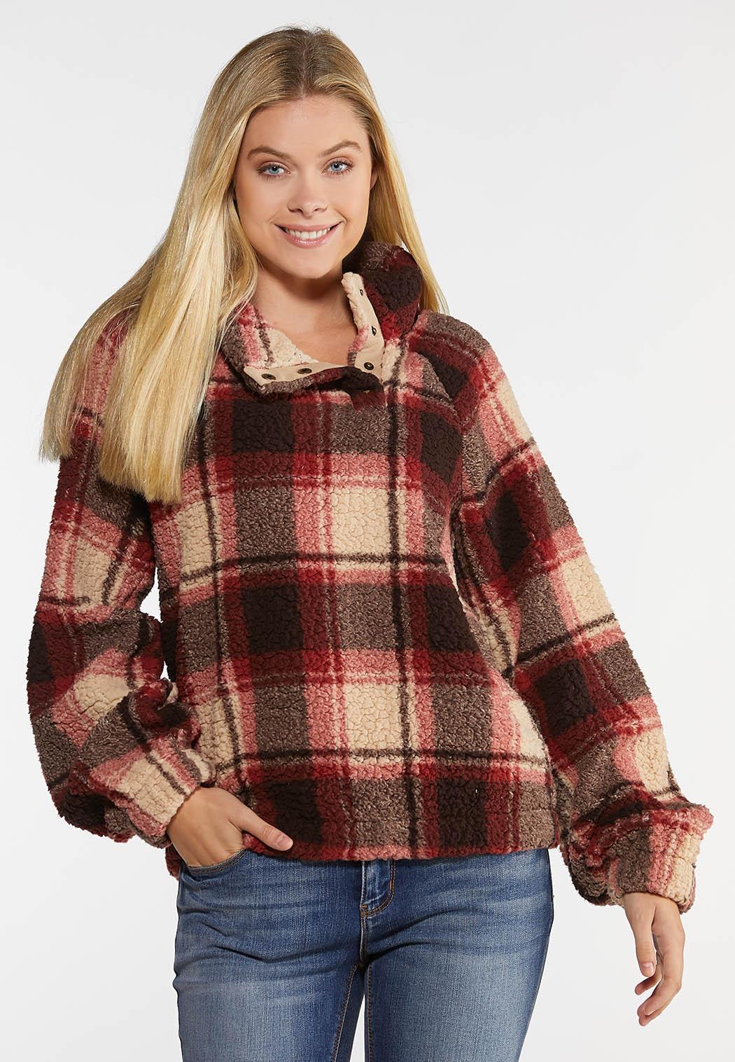 Plus Size Plaid Fleece Pullover Top