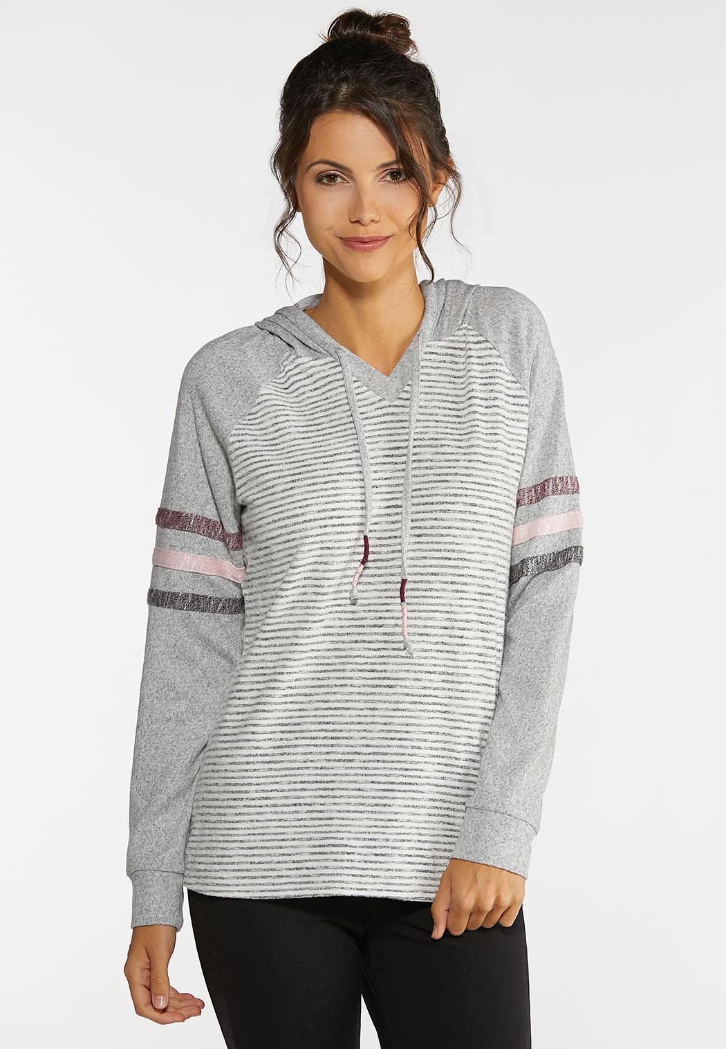 Plus Size Striped Hooded Sweatshirt