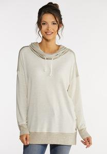 Snap Cowl Neck Sweatshirt