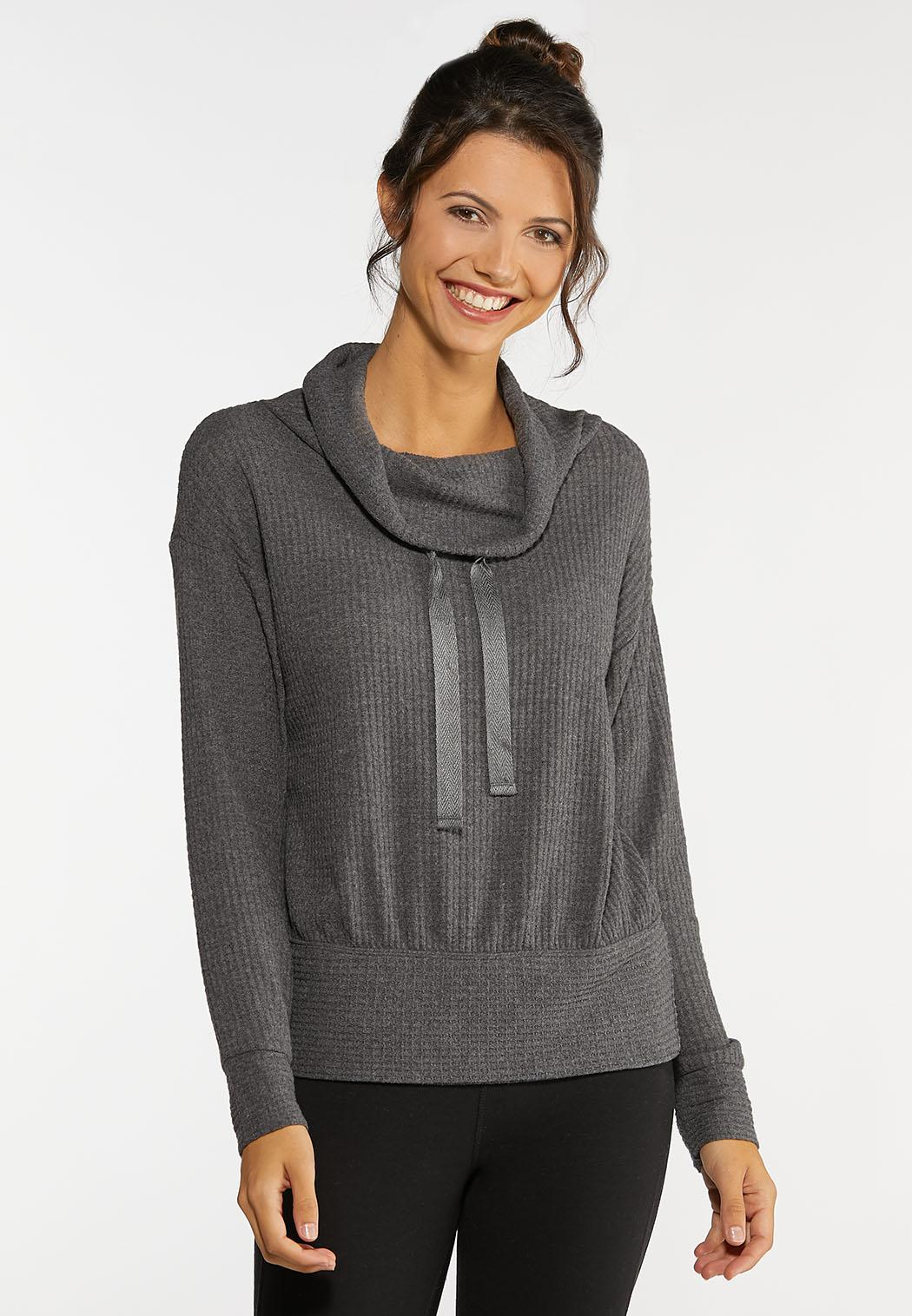 Waffle Cowl Neck Top