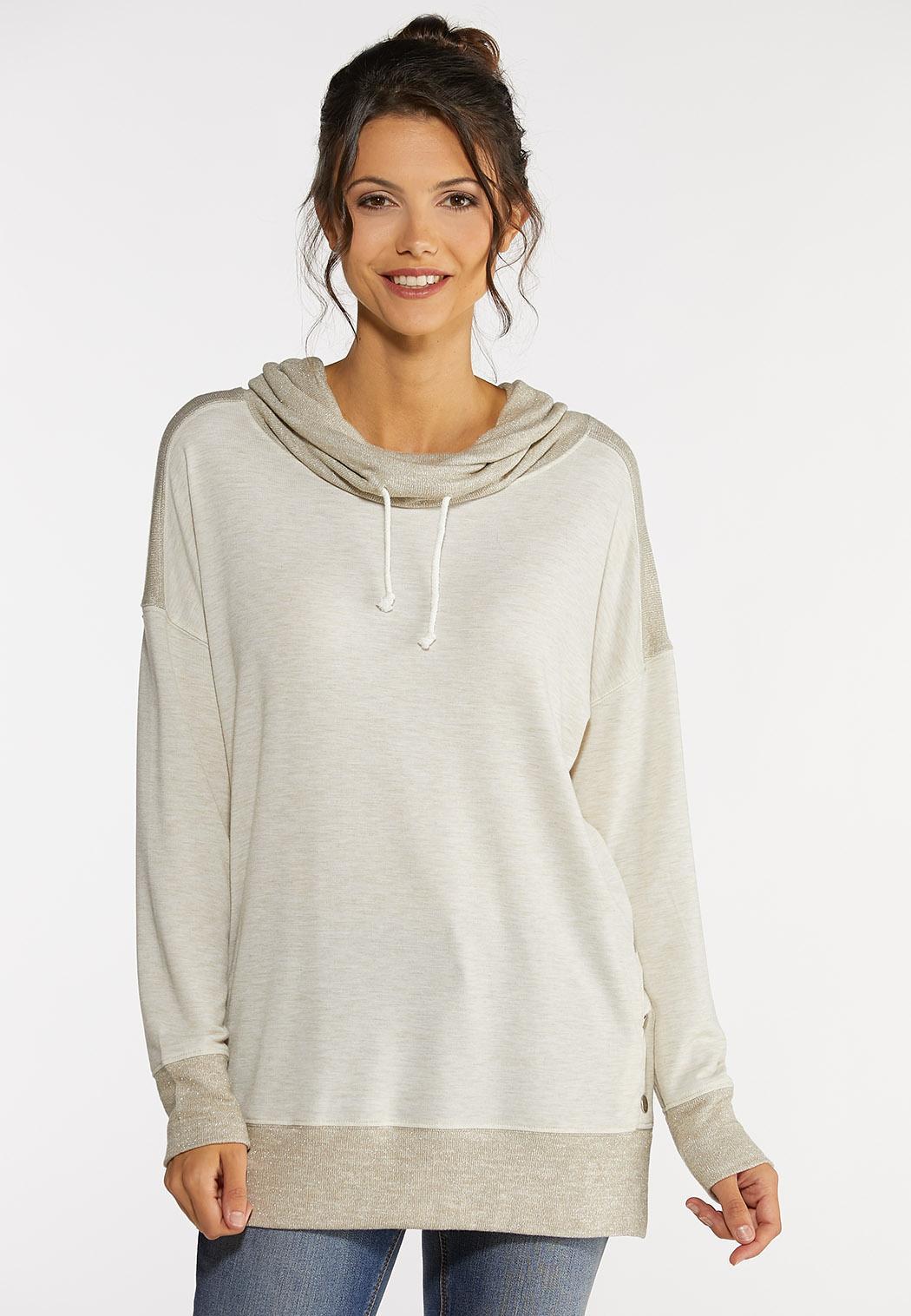 Plus Size Snap Cowl Neck Sweatshirt